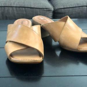 Boc Tan Leather Criss Cross Heeled Slides Size 9